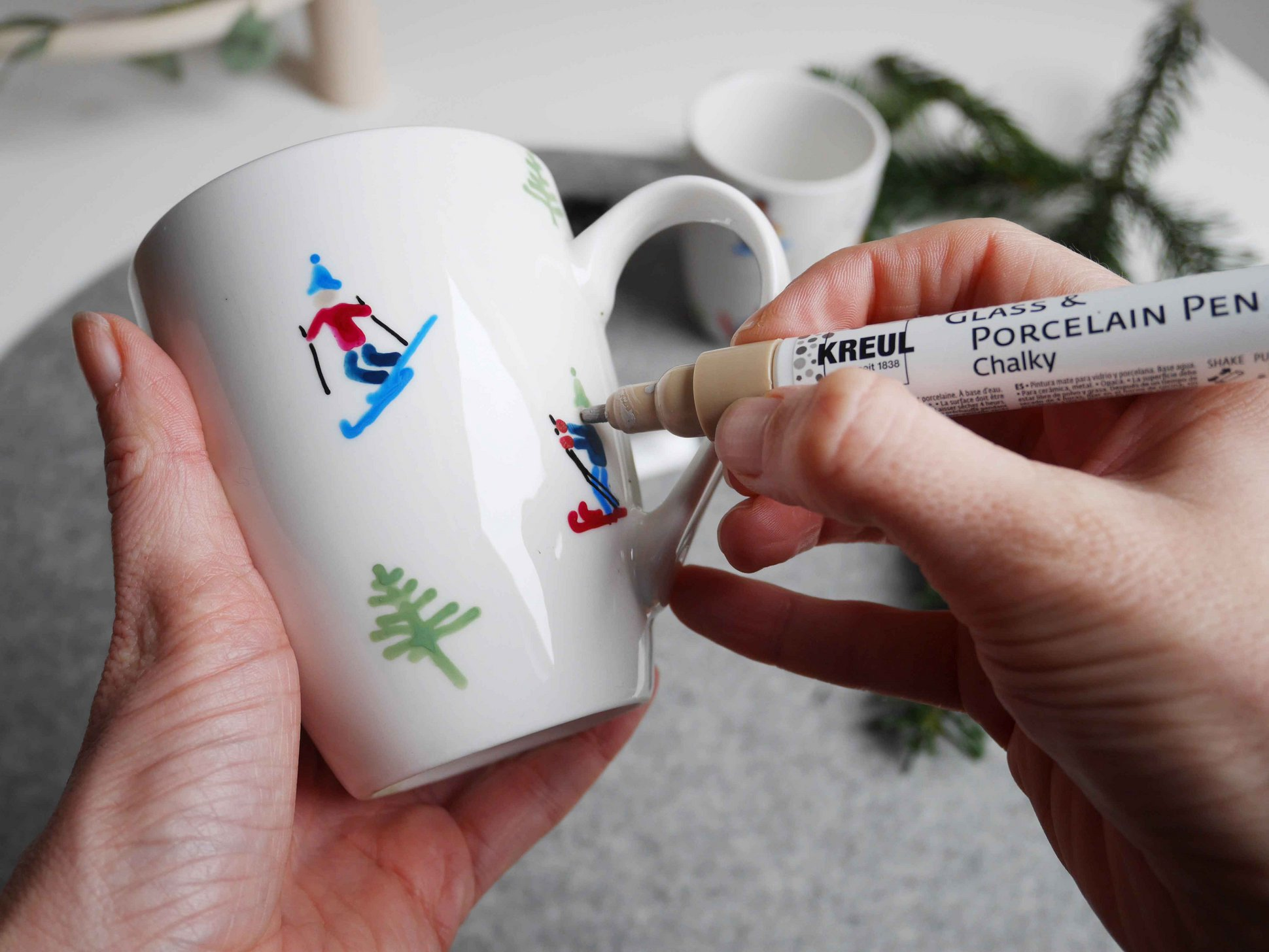 KREUL Glass Porcelain Pen Winter Tasse Ski Design malen